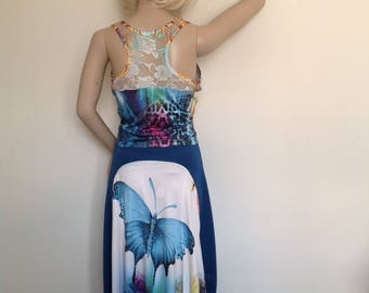 Argentine tango butterfly skirt and top set in small-medium size