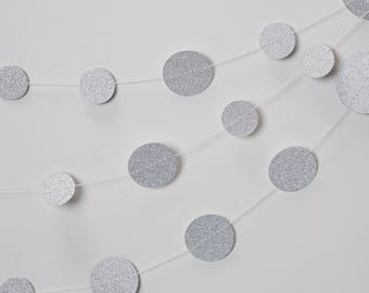 Glittery Silver Circle Garland, Glittery Silver Circle Garland, Silver Wedding Decor, Baby Shower Decor, Sparkly Silver Bunting