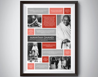 Mahatma Ghandi Quote Poster; Digital Download; inspirational quote print for motivation and success