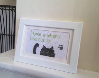 Black cat cross stitch picture