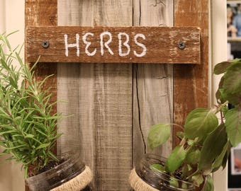 Hand Made Wood Pallet Herb Planter // Mason Jar Herb Garden // Indoor