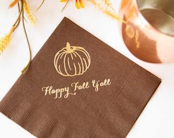 Happy Fall Y'all Napkins - Ready to Ship