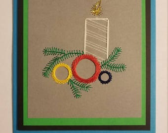 Christmas candel stitched card