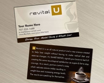 Revital U - Business Cards - Tan Design - Durable 16pt - Rich Matte Finish -PRINTED and SHIPPED directly to YOU!