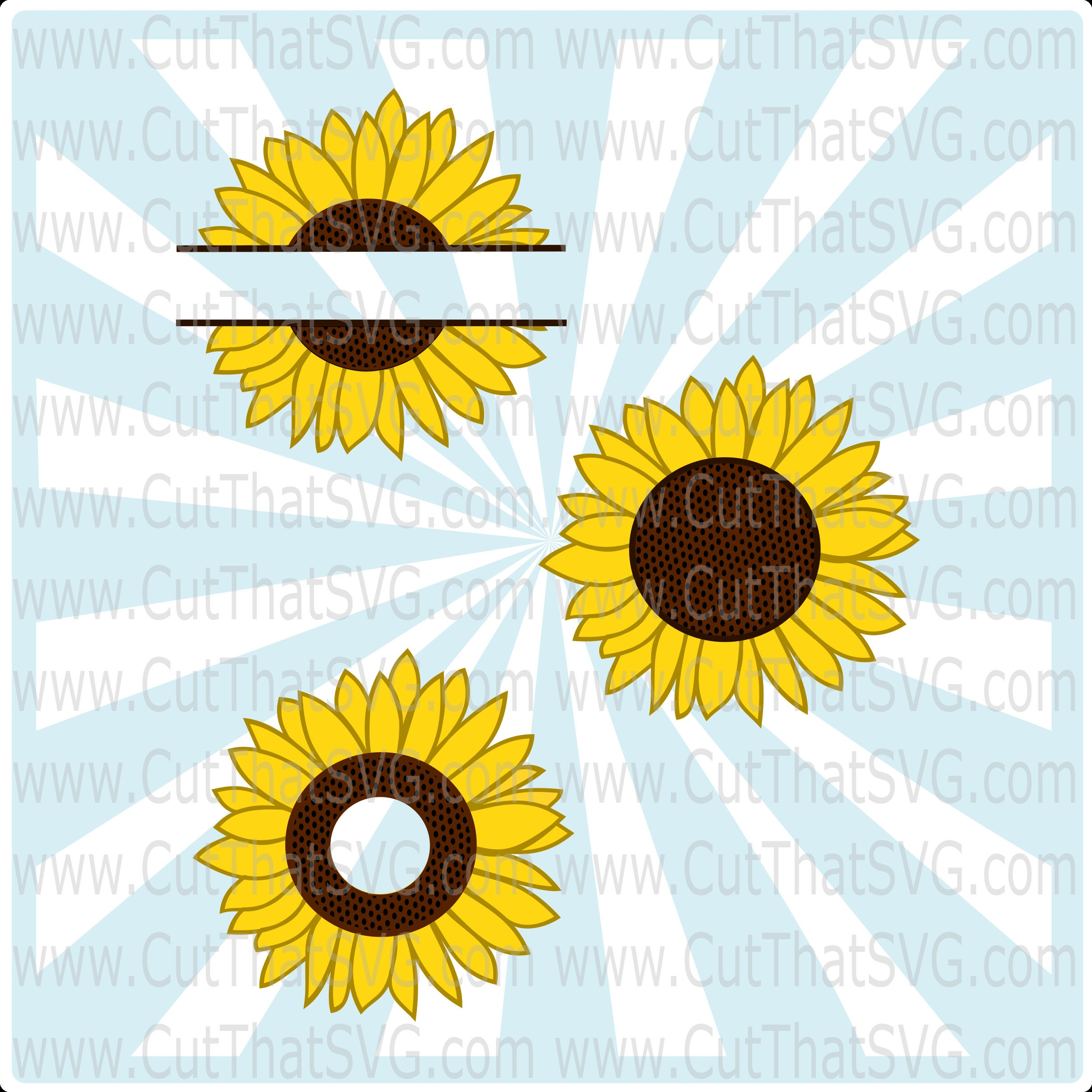 Download Sunflower SVG Cut File from CutThatSVG on Etsy Studio