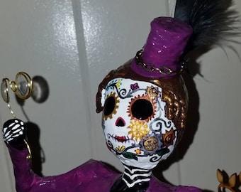 Sugar skulls day of the dead steam punk  catrina