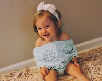 Baby lace romper, mint romper, baby girl romper, baby romper, summer romper, lace romper, baby photo prop
