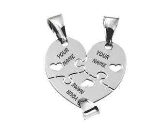 Personalized Heart pendant that is divided into three, in rhodium-plated 925 silver, for necklace and bracelet. Free engravings. Best friends