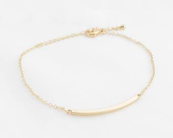 """Stick Bracelet """"Curved Bar"""" gold"""