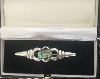 Vintage .925 Silver Bar Brooch/Pin with Abalone. Good Quality.