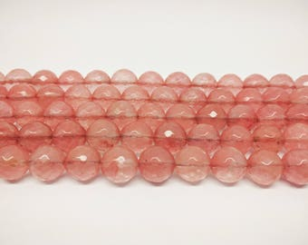 Faceted  Beads Cherry Quartz Beads Watermelon Quartz Beads 8mm Quartz Beads 10mm Beads 12mm  Faceted Beads Pink Faceted  Beads for Jewelry