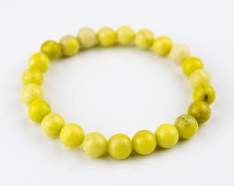 Yellow lemon Stones Beaded Bracelet 8mm