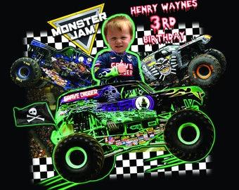 Customized Monster Jam Monster Truck Themed Birthday Boy Invite