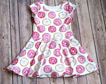 Donut Dress. Food Dress. Baby Dress. Toddler Dress. Little Girl Dress. Twirl Dress. Twirly Dress. Play Dress. Pink Donut Dress.