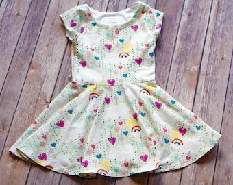 Rainbow Dress. Heart Dress. Baby Dress. Toddler Dress. Little Girl Dress. Twirl Dress. Twirly Dress. Play Dress. Cloud Dress.