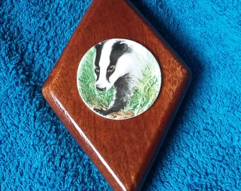 Handcrafted Wooden Diamond Shaped Plaque With Badger Plate Inset - Red Mahogany
