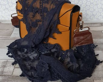 Gorgeous dark navy  lace replacement bag strap, soft, delicate patterned scarf, across the shoulder strap upcycled scarf