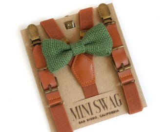 Rustic Wedding Bow Tie, Green Burlap Bow Tie Set, Ring Bearer Outfit, Leather Suspenders, Toddler Suspenders, Boys Bow Tie and Suspender Set