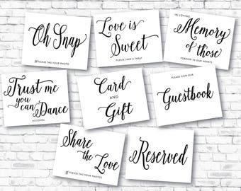Printable Wedding Sign, Modern Wedding Signs Bundle , Instant Download Wedding Signs , Guestbook , Love is Sweet , Signs Set, Signs06