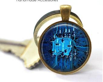 BLUE CIRCUIT BOARD Key Ring • Computer Motherboard • Electrician • Engineer • Geek • Nerd • Gift Under 20 • Made in Australia (K503)