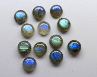 12Pcs 49Cts. 10MM 100% Natural Labradorite,Natural Genuine Round Shape Labradorite Cabochon Jewelry Making Handmade Gemstone