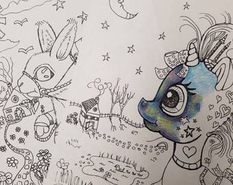 Coloring book, quirky coloring book, children's coloring book