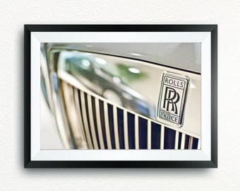 Poster Rolls Royce, logo with reflected car.