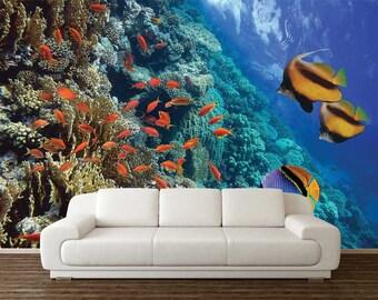 Underwater Wall Decal, Wall Mural Underwater, Wallpaper Underwater, Self Adhesive Vinyl