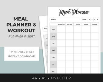 Meal Planner, Workout Planner, Weekly Meal Plan, Weekly Workout plan, Food journal, Fitness printable, Workout Tracker, Exercise, Nutrition