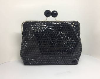 Unique Handmade Black Embossed Sequins Vintage Party Clutch, Bridal Clutch, Mother of the Bride Clutch, Kiss Clasp