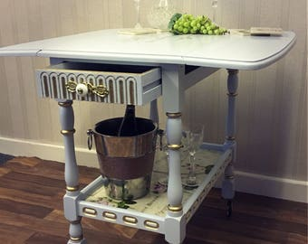 Hand Painted Vintage Gin Trolley