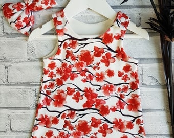Baby Girl, Baby Girl Dress, Baby Girl Pinafore, Cherry Blossom, Red and White, Baby Set, Floral Baby Dress, Pinafore Dress