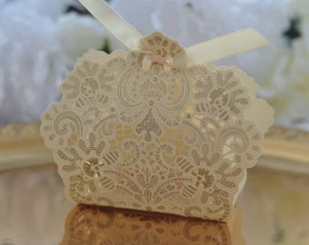 Laser Cut Favor Box - Set of 20 - Champagne Gold with Ivory Ribbon - Wedding, Shower, Birthday, Anniversary, Party