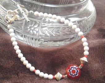 Red white blue Millefiori  bracelet, white jade, glass seed bead. Original design.