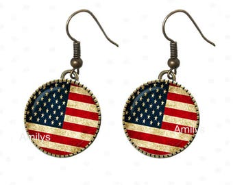 USA July 4 American flag on earings, blue, red. R49