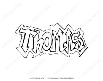 Thomas coloring etsy for Custom name coloring pages