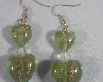 Heart shape Earrings, Womens Earrings, Glass Earrings,  Dangling Earrings