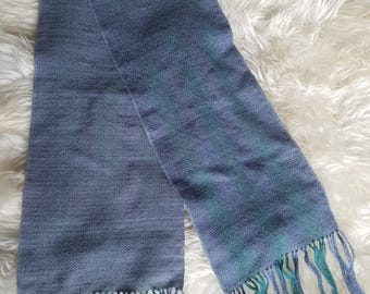 Blue and Green Striped  Handwoven Scarf