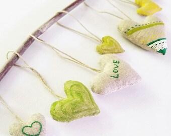 Linen Heart Ornaments (Set of 7)