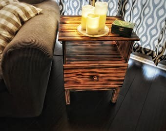 Torched Wood Nightstand End Table