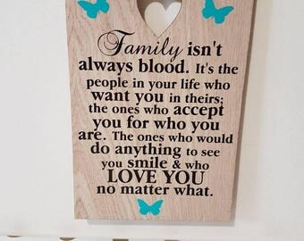 Family isn't always blood Stepmum Gift Stepmother Gift Unique Mothers Day Gift for Stepdad Stepfather Gifts Foster Mum Foster Dad Present