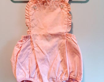 Vintage Baby Sunsuit Romper Pink Ruffle Top Size 2