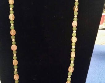 Pink and green necklace set.