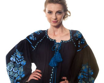 "Blouse ""Tree of Life"" in navy"
