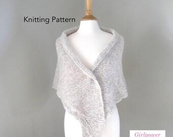 Easy Knit Shawl Pattern, Side to Side Shawl with Scallop Lace Edge, Chunky Yarn, Triangle Wrap, Prayer Shawl, Garter Stitch