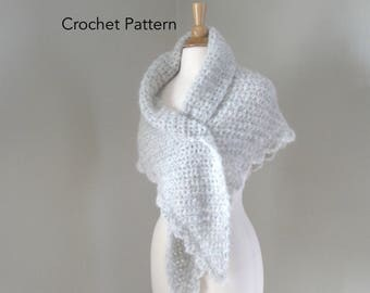 Crochet Shawl Wrap Pattern, Side to Side Shawl, Chunky Shawl Pattern, Quick Crochet, Scallop Lace Edge, Prayer Shawl Pattern