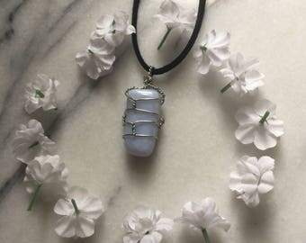 Blue Lace Agate Crystal Necklace // Wire Wrapped // Boho