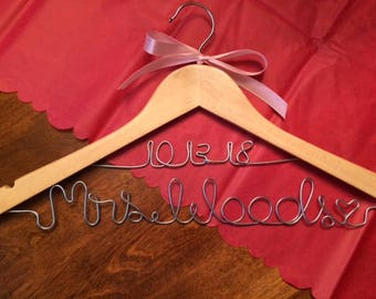 Personalized Wedding Hanger - 2 lines (name with date)