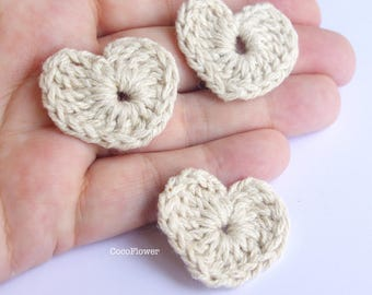 Crochet heart applique x3 embellishments patches sew on - 3.5 cm - 2 colors (Off White or Purple)