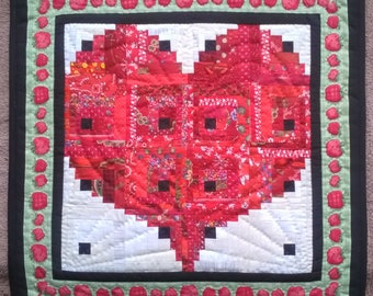 Miniature Quilt - Log Cabin Heart